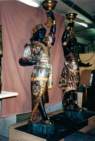restoration of Blackamoors (carving, gilding and paint)